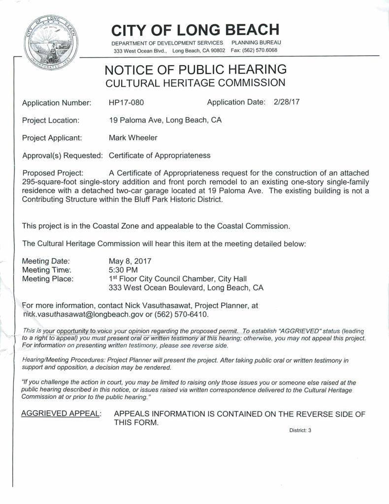 Bluff Park Neighborhood Association Public Hearing for 19 Paloma ...