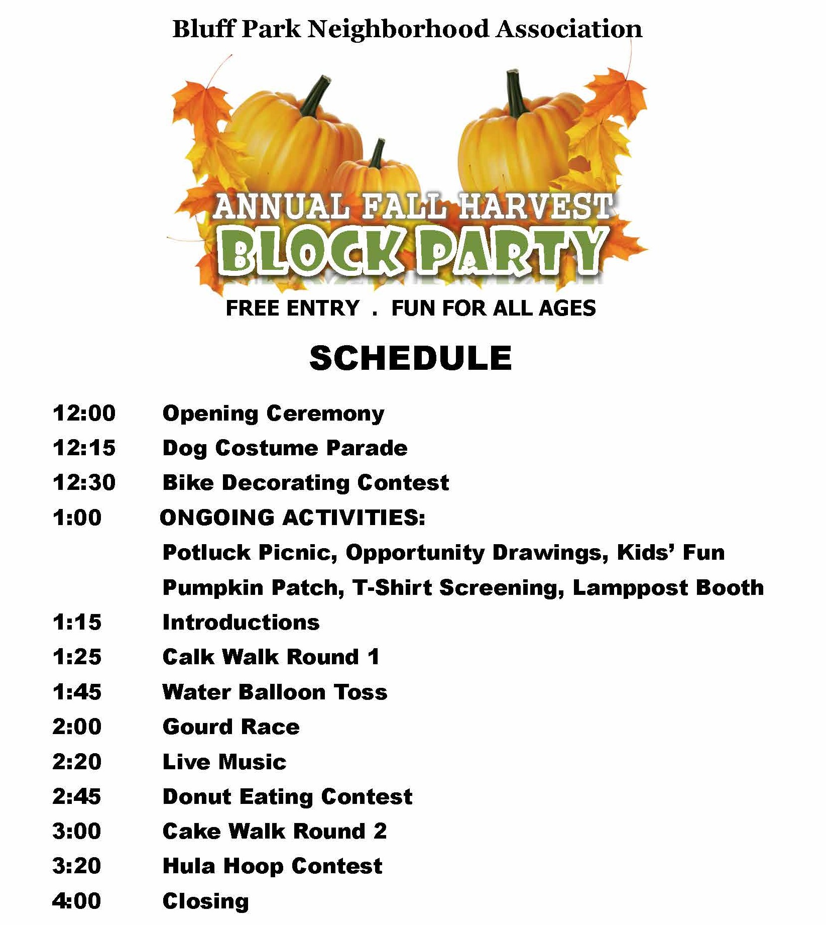 SCHEDULE OF EVENTS – Revised 3 block party